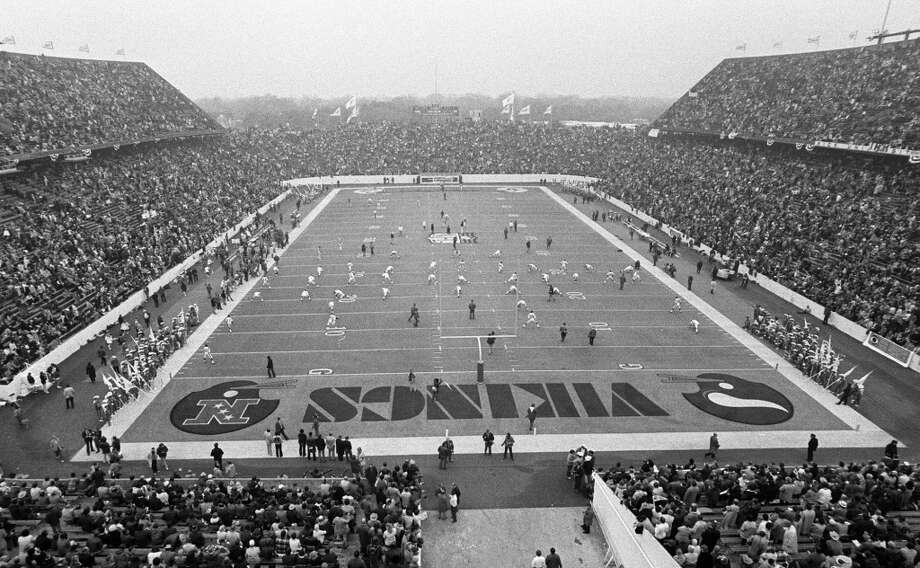 The Vikings workout at Rice Stadium before the start of Super Bowl VIII.