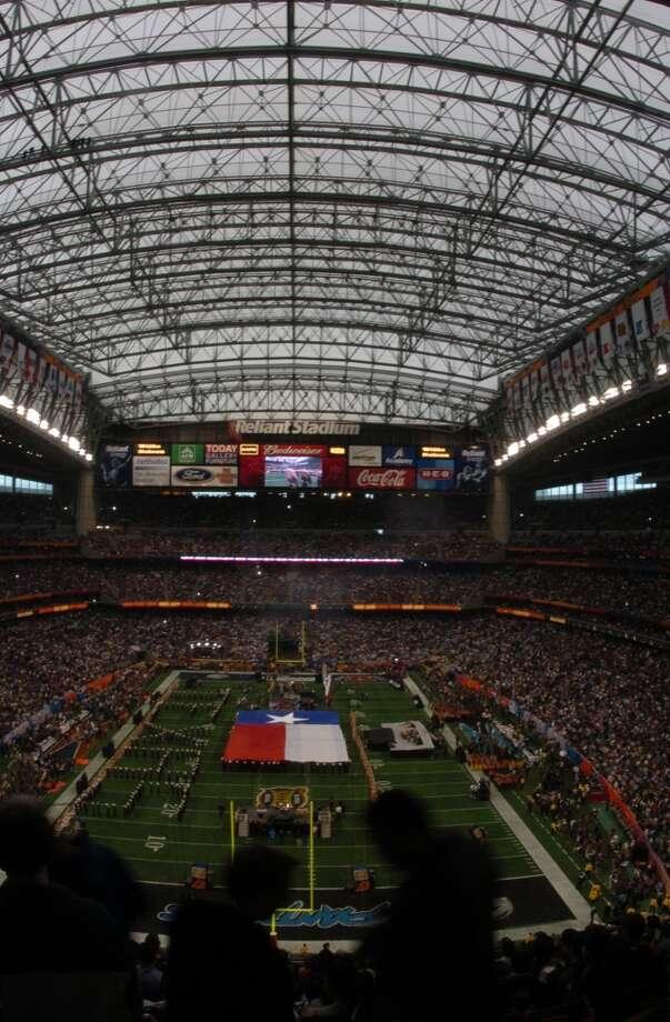 Pregame festivities for Super Bowl XXXVIII between Carolina and New England.