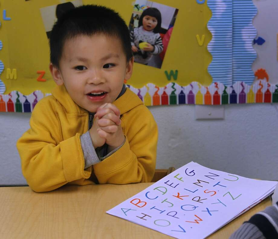 Jeffrey Chen, 3 1/2, learns the alphabet at Chinatown's Little Sprouts Child Development Center in San Francisco, Calif. on Wednesday, June 12, 2013.