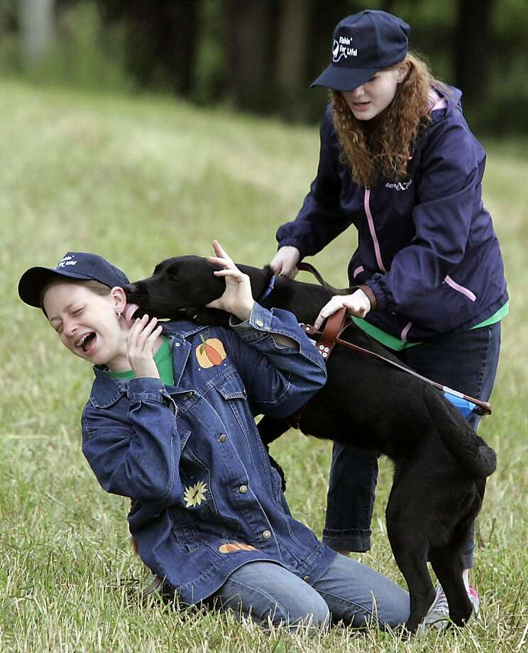 Wet behind the ears: Mackenzie Colglazier tries to get Liza to sit, but the black Lab is more interested in kissing Mikaela Smith with gusto at the Fishing For Life event for visually impaired people and their families in Westville, Ind. Photo: Bob Wellinski, Associated Press
