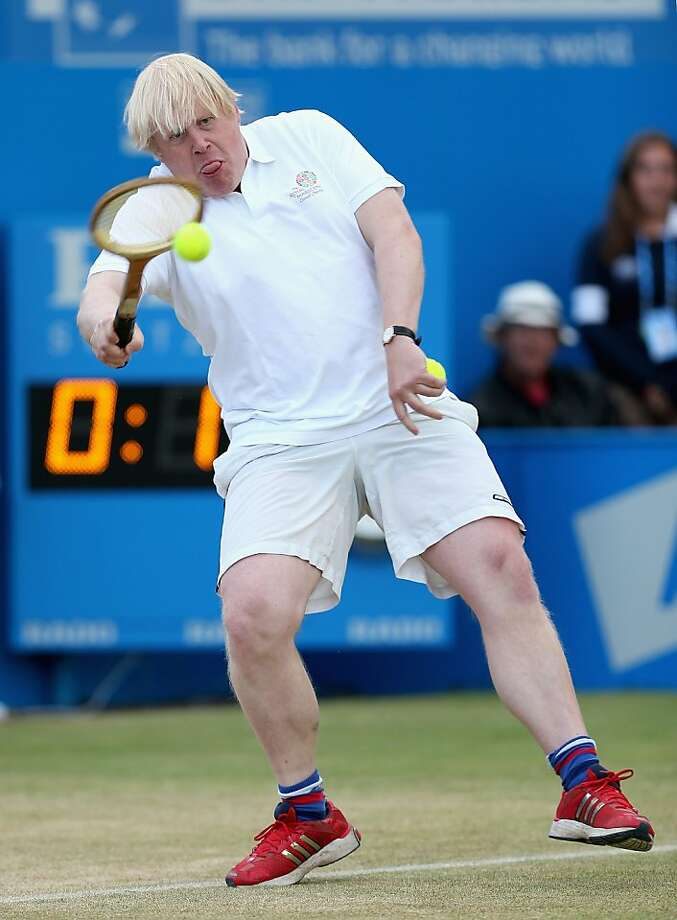 Even if you're the mayor of one of the world's greatest cities (London), you probably shouldn't step on the court if you play tennis like this. (Mayor Boris Johnson during a charity match at the AEGON Championships in London.) Photo: Clive Brunskill, Getty Images