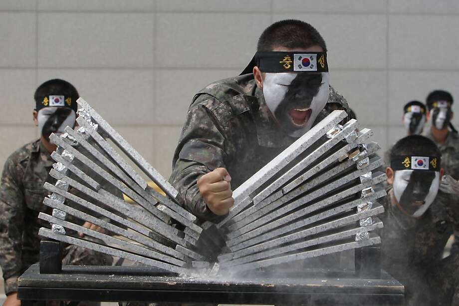 There goes the bathroom remodel:South Korean commandos really hate tile. (Anti-terror exercise in Incheon.) Photo: Chung Sung-Jun, Getty Images