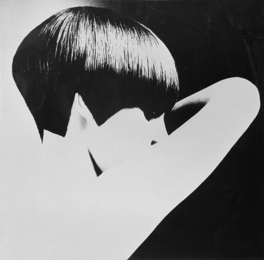 Welsh model, and Vogue journalist Grace Coddington modelling a geometric bob-cut hairstyle by Vidal Sassoon, circa 1965. Photo: Getty Images