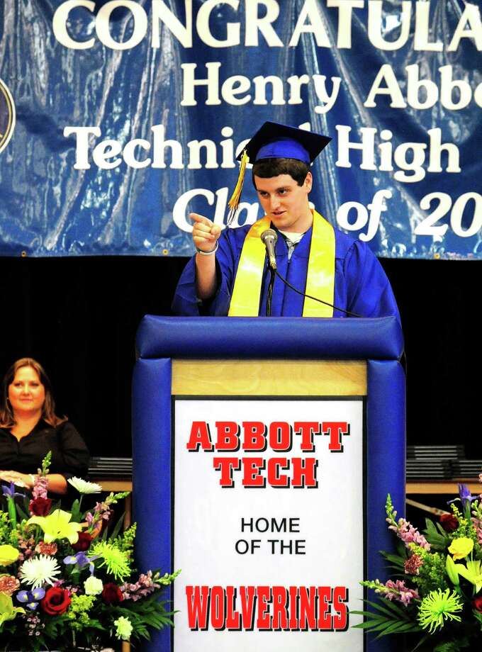 Salutatorian Sean Geary speaks as Henry Abbott Technical School holds graduation exercises in the Danbury, Conn, high school Monday, June 17, 2013. Photo: Michael Duffy / The News-Times