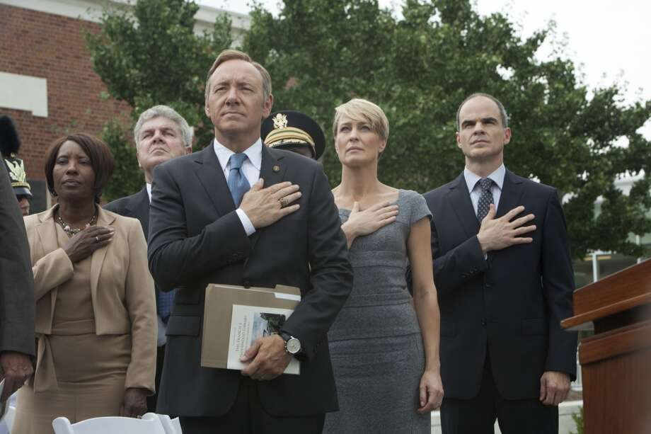"Kevin Spacey, Robin Wright as Claire Underwood, and Michael Kelly are seen in, ""House of Cards,"" on Netflix."