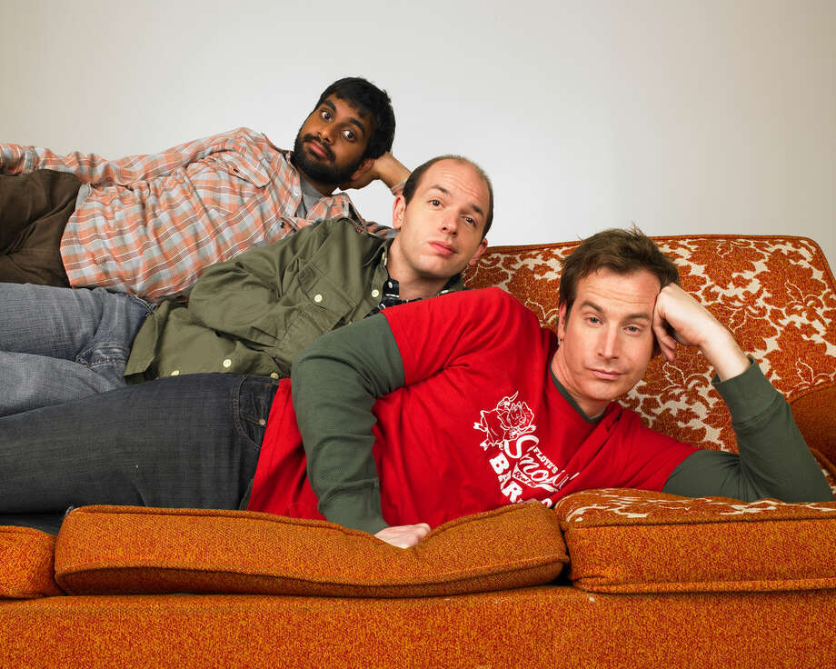 """Human Giant:Paul Scheer, Rob Huebel and Aziz Ansari (alums of the Upright Citizens Brigade Theatre) developed this series, which ran for two seasons on MTV2. Though there's a fair amount of requisite """"hip, edgy"""" pop-culture detritus shoehorned in to placate the network (see also: The State), sharp writing and performances make up for the MTVishness. A third season was planned but never materialized due to Ansari's commitments to Parks and Recreation. Photo: Ray Lego, MTV / handout email"""