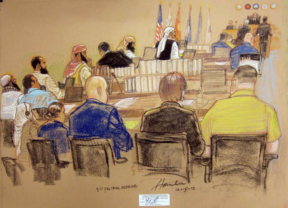 A sketch shows the hearing at Guantanamo Bay Naval Base in Cuba for five prisoners accused of helping arrange 9/11. Photo: Associated Press