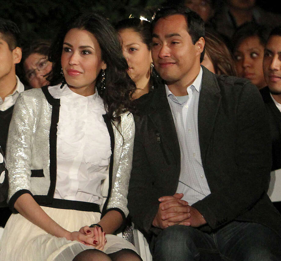 Anna Flores and U.S. Rep. Joaquín Castro attend the H-E-B Tree Lighting Celebration in November 2012. Mayor Julián Castro, Joaquín's twin, announced his brother's engagement to Flores on Facebook Monday, June 17, 2013. Photo: Kin Man Hui, San Antonio Express-News / ©2012 San Antonio Express-News