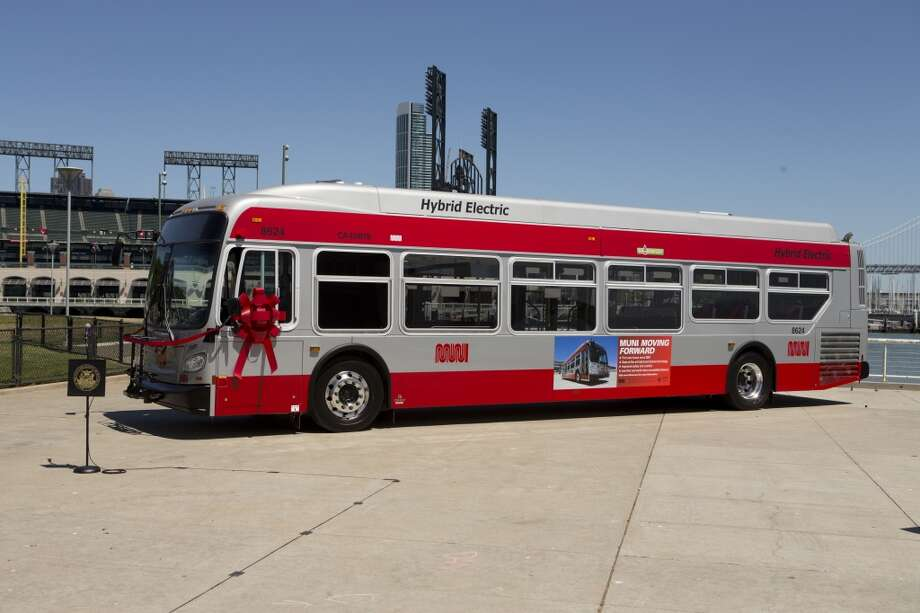One of Muni's new bio-diesel hybrid buses Monday, June 17, 2013 in San Francisco, Calif.
