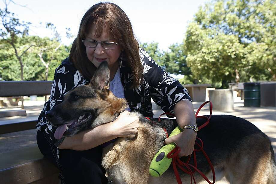 Joan Cannelli, here with German shepherd Drake, leads a Bay Area support group for people who have trigeminal neuralgia. Photo: Liz Hafalia, The Chronicle