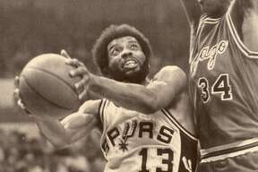 "James Silas: ""Captain Late"" had a knack for hitting game-winning shots and played with a determined style that made him the first Spur to have his jersey retired."