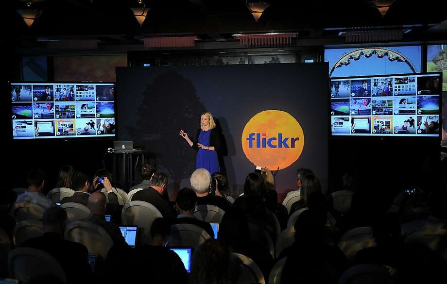 Yahoo CEO Marissa Mayer speaks about Flickr, which will have booths in the new 49ers stadium. Photo: Emmanuel Dunand, AFP/Getty Images