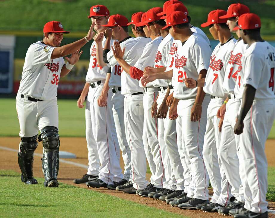 Tri-City ValleyCats catcher Ernesto Genoves is introduced before a baseball game against the Vermont Lake Monsters at Joe Bruno Stadium on Monday, June 17, 2013 in Troy, N.Y. Tonight was the season opener. (Lori Van Buren / Times Union) Photo: Lori Van Buren / 10022829A