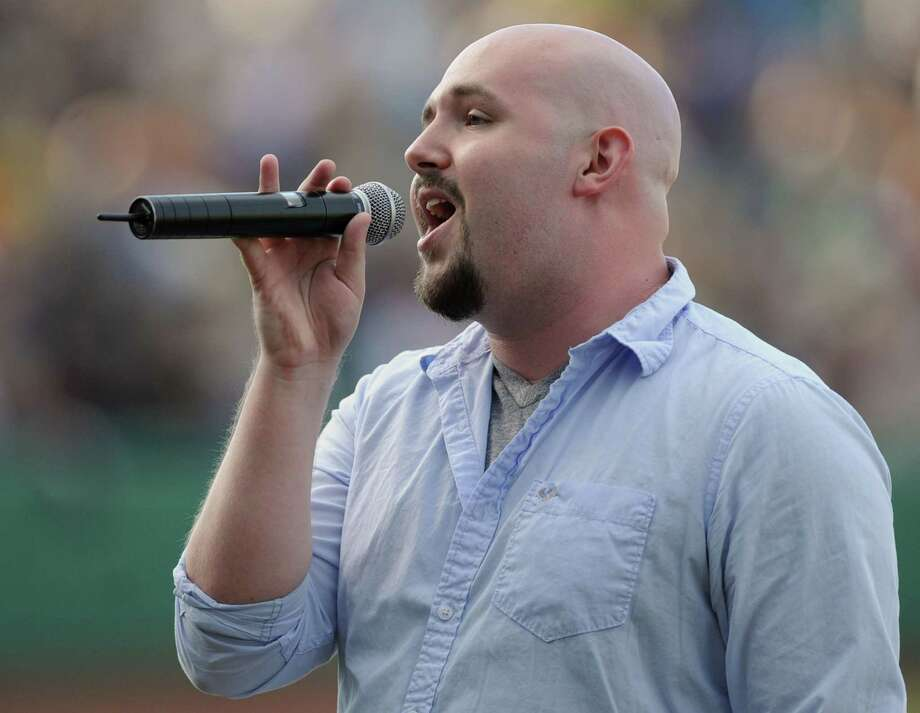 Steven Poole of Rensselaer sings the national anthem before a Tri-City ValleyCats baseball game against the Vermont Lake Monsters at Joe Bruno Stadium on Monday, June 17, 2013 in Troy, N.Y. Tonight was the season opener. (Lori Van Buren / Times Union) Photo: Lori Van Buren / 10022829A