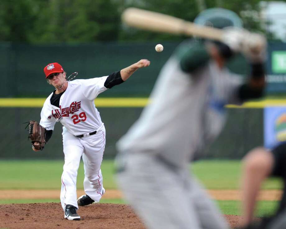 Tri-City ValleyCats pitcher Evan Grills throws the ball during a baseball game against the Vermont Lake Monsters at Joe Bruno Stadium on Monday, June 17, 2013 in Troy, N.Y. (Lori Van Buren / Times Union) Photo: Lori Van Buren / 10022829A