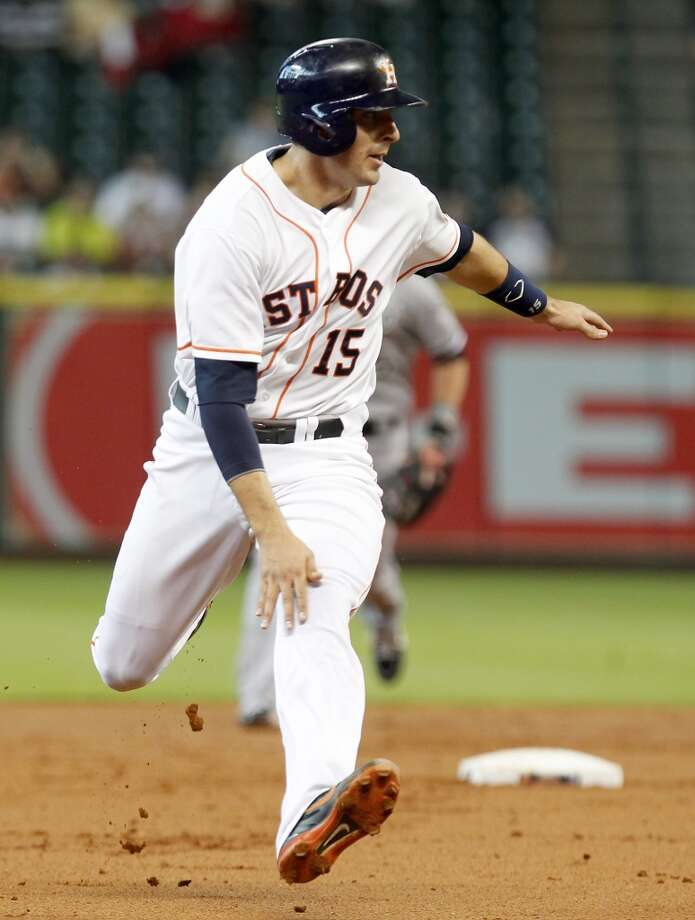 Jason Castro of the Astros runs for the third base.