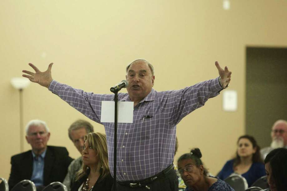 Mel Feldman, a regular bus rider,  said he rode 11 buses to get to VIA's meeting about the streetcar plan, and he asked the board to focus VIA funds on improving buses. Photo: Abbey Oldham / San Antonio Express-News