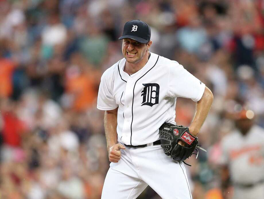 Detroit's Max Scherzer reacts to his fifth-inning, bases-loaded strikeout of Baltimore's Chris Davis. Photo: Leon Halip / Getty Images
