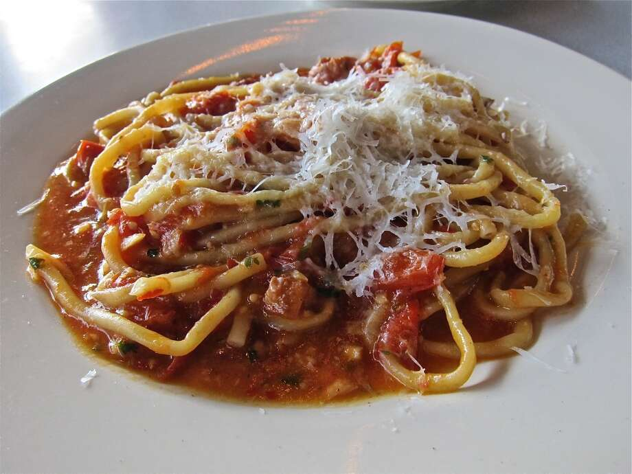 House-made bucatini Amatriciana with smoked bacon and chili flakes at Paulie's