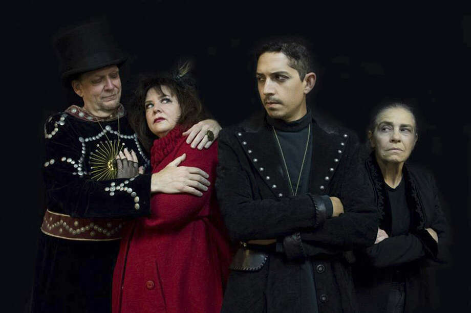 "Erik Bosse (from left), Laurie Dietrich, Billy Muñoz and Linda Ford appear in ""Method & Madness: Hamlet 2013,"" a collaboration between Classic Theatre and Jump-Start. Photo: Courtesy Rick Malone"