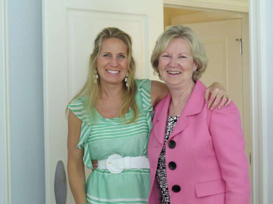 Pauline Mooney, right, was feted at a 25th anniversary celebraton luncheon at the home of Christen Farley, right. Mooney has been teaching at the United Methodist Preschool of New Canaan for 25 years. Photo: Contributed