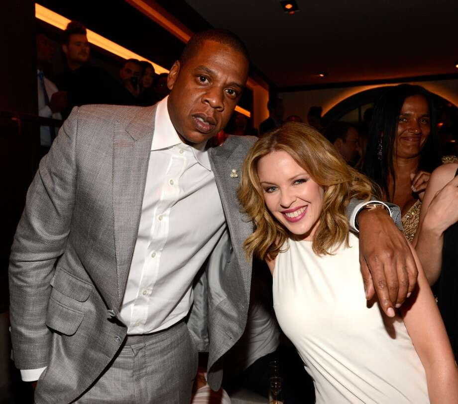 Jay-Z and Kylie Minogue attend The 40/40 Club 10 Year Anniversary Party at 40 / 40 Club on June 17, 2013 in New York City.  (Photo by Kevin Mazur/WireImage)