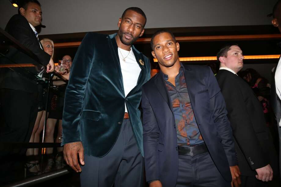 NEW YORK, NY - JUNE 17:  (L-R) Amare Stoudemire and Victor Cruz attend The 40/40 Club 10 Year Anniversary Party at 40 / 40 Club on June 17, 2013 in New York City.  (Photo by Johnny Nunez/WireImage)