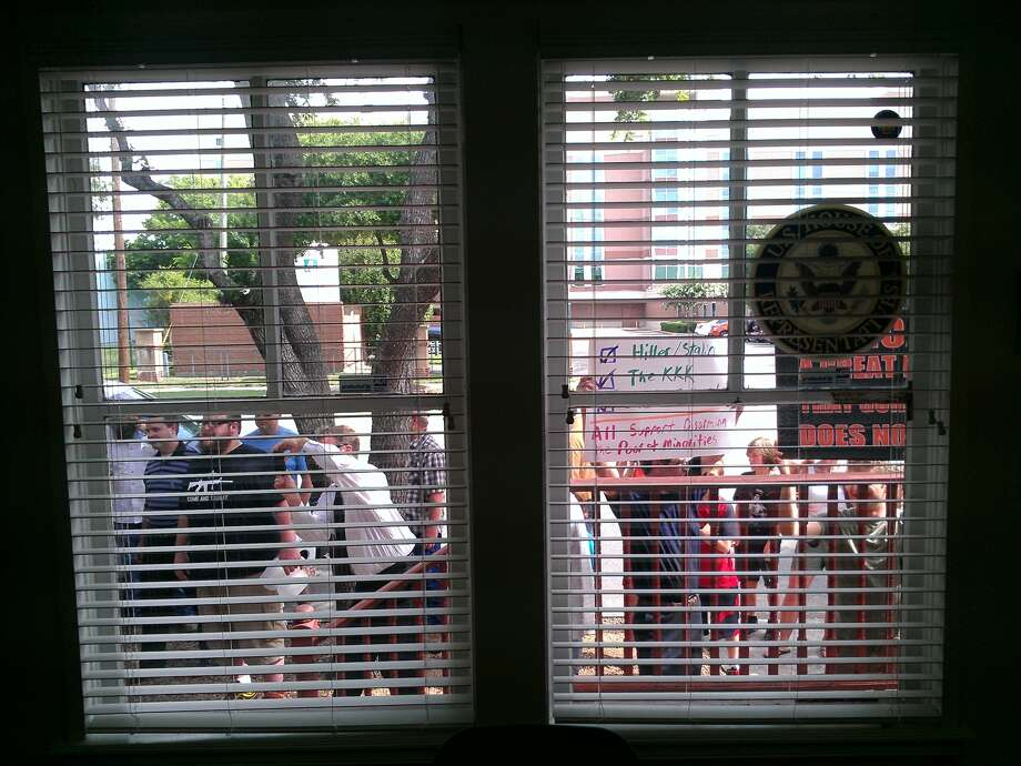 The view from inside Sheila Jackson Lee's office. (Craig Hlavaty / Houston Chronicle)