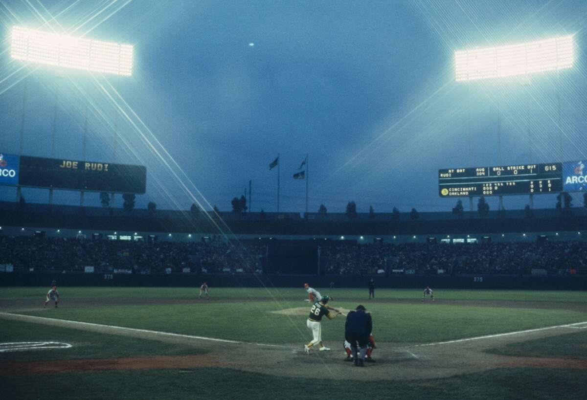 A wide shot of the Oakland-Alameda County Coliseum during the World Series on October 1972 in Oakland.