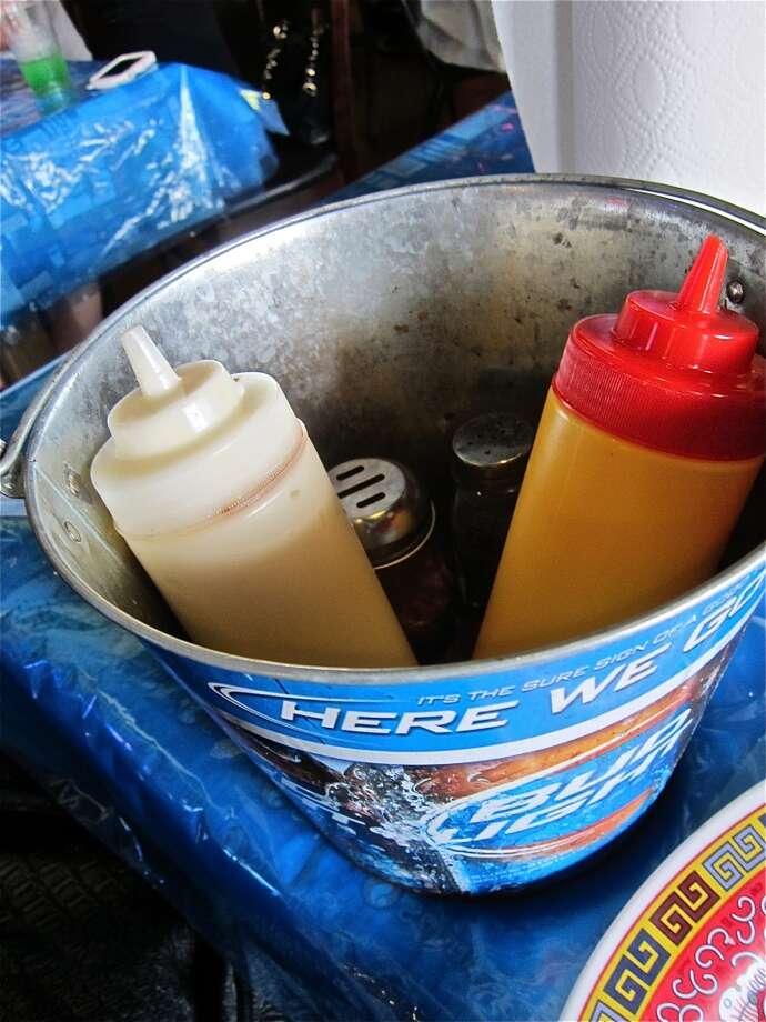 Condiment bucket at Wild Cajun.
