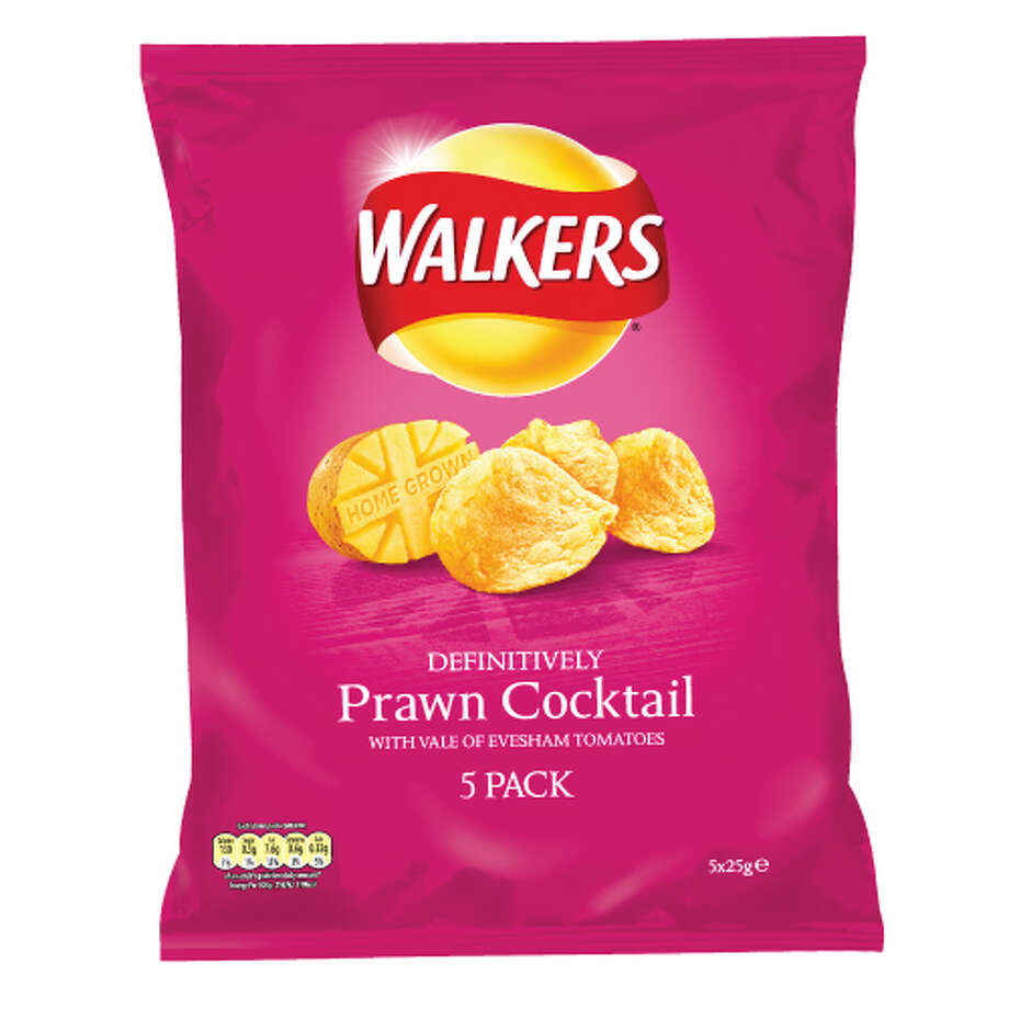 Walker's Prawn Cocktail-flavored potato chips (U.K.)  What we assume it tastes like: A convenience store shrimp cocktail.