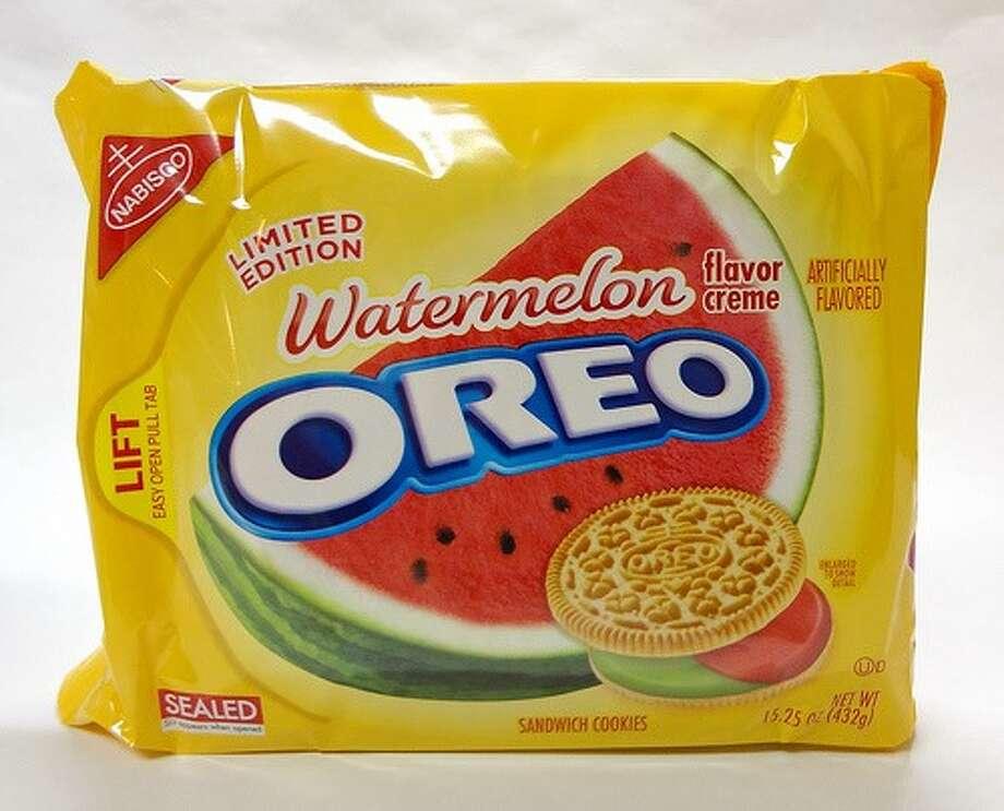 Oreo Watermelon-flavored sandwich cookies (U.S.)  What we assume it tastes like: Sugar-flavored sugar with a sweet sugar filling.