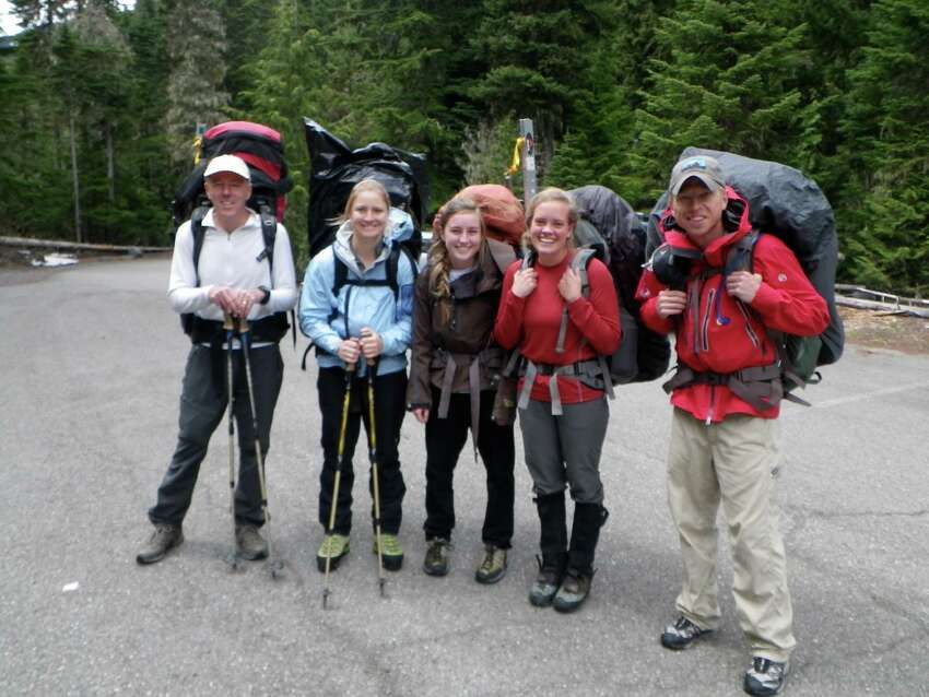 June 2012 (Courtesy of Stacy Wren) Five climbers from Texas prepare to leave a Mount Rainier National Park parking lot and begin their climb of the mountain....From left to right:...Stuart Smith...Claire Kultgen...Noelle Smith...Stacey Wren...Ross Van Dyke. Kultgen ended up not trying to reach the summit, as she wasn't feeling well, and watched through binoculars from a base camp as her teammates fell. She was the first to notify park rangers of the accident, and set in motion a rescue that involved the Army Reserve from nearby Joint Base Lewis McChord