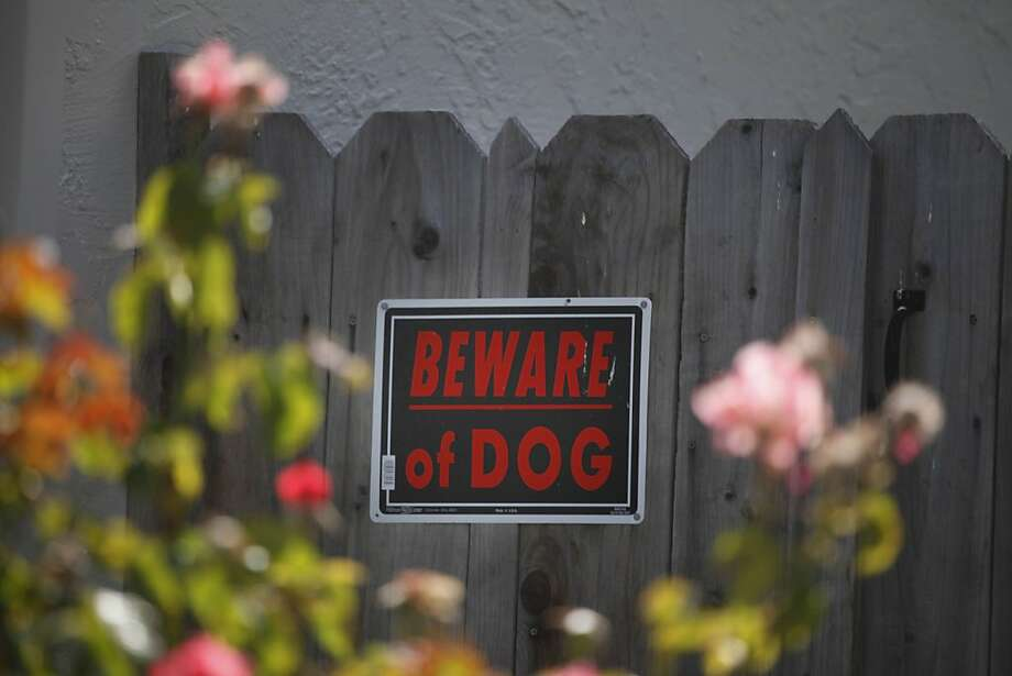 "A ""Beware of Dog"" sign is affixed to a fence at the Union City home where a child was bitten by a pit bull or pit bull mix. Photo: Lea Suzuki, The Chronicle"