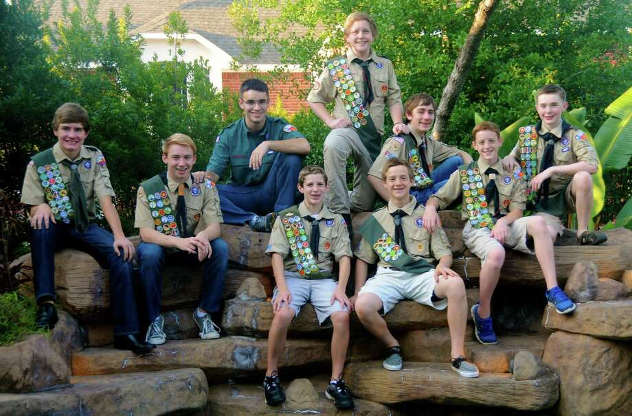 Nine Boy Scouts became Eagle Scouts May 29 at the Troop 223 Eagle Scout Court of Honor at The Church of Jesus Christ of Latter-day Saints, 10303 Branch Crossing, in The Woodlands. This is a record number of boys getting their Eagle at the same time for the troop, which is in the Tall Timbers District in the Sam Houston Area Council. Eagles are David Julian Holt, left, Bryan King, Will Gardner, Josh Sorensen, Ian Smith, Coleman Robbins, Joe Konopczynski, Derek Johnson and Ashton Jenson. Photo: Courtesy