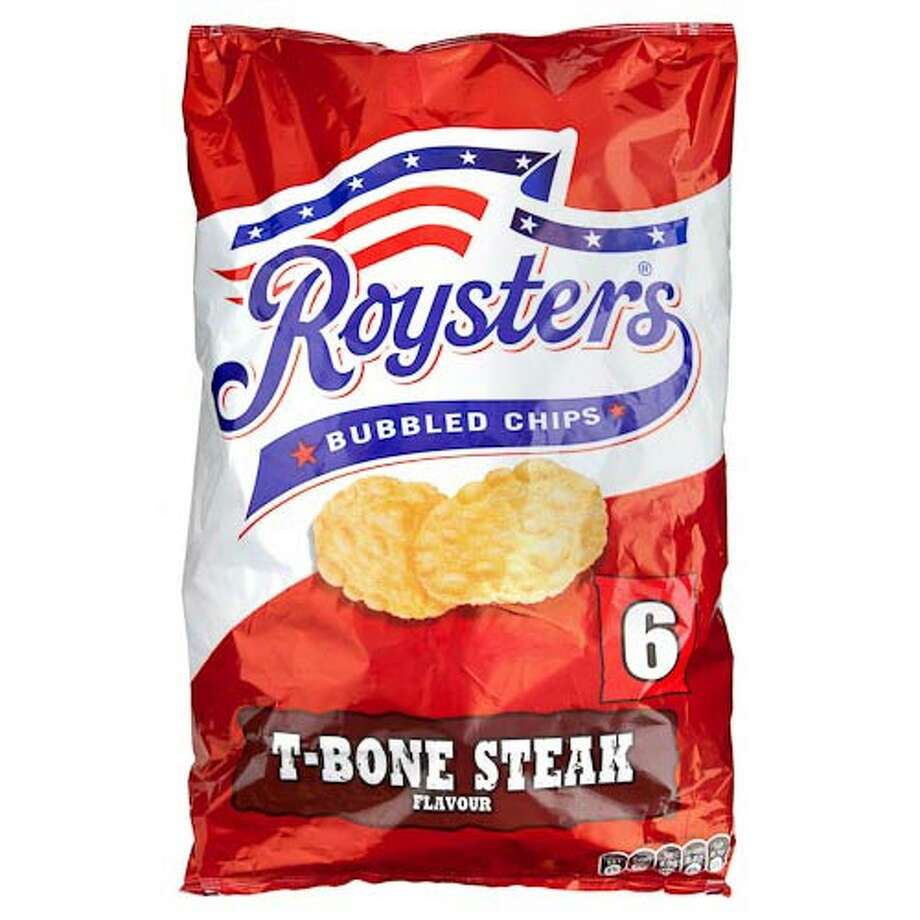 Royster's T-Bone Steak-flavored chips (U.K.)  What we assume it tastes like: An affront  to the U.S. cattle industry. Photo: Craig Coley / ©Poundland Limited