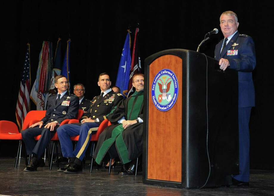 Air Force Surgeon General Lt. Gen. Thomas Travis delivers opening remarks during the San Antonio Uniformed Services Health Education Consortium graduation ceremony June 7. Photo: U.S. Air Force