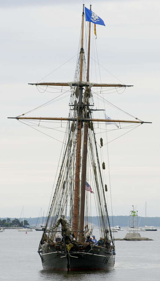 The Schooner Amistad re-enters the Stamford Harbor in June of 2004. Photo: File Photo / Stamford Advocate File Photo