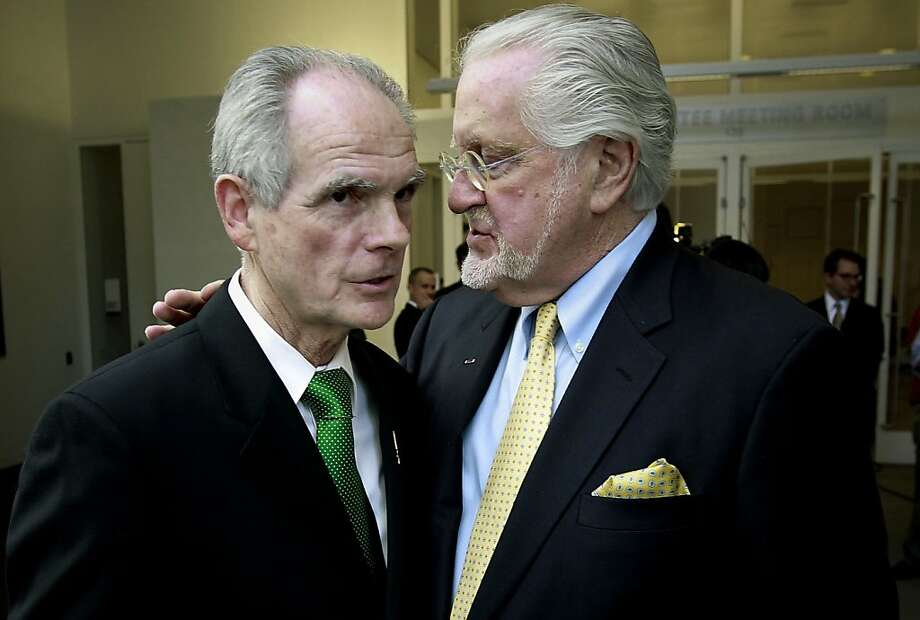 San Jose Mayor Chuck Reed (left) and attorney Joseph Cotchett discuss the lawsuit over the A's in June. Photo: Michael Macor, The Chronicle