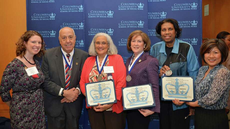 From left,  Emily Ball Jabbour, Columbia University Alumni Association president; Paul Kurzman '64; Diane Granger Bowman (for the late Shelton Granger '47); Mary Fetchet '94; Phylis Peterman '90 (for Sadye Logan '80); and Associate Dean Marianne Yoshioka. Photo: Contributed Photo