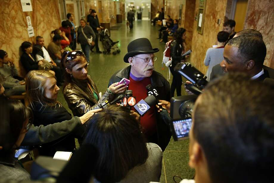 Ben Goldstein talks with the press before the arraignment for his friend and colleague Yeiner Alberto Perez Garizabalo at the Hall of Justice in San Francisco, Calif. on June 17, 2013. Photo: Ian C. Bates, The Chronicle