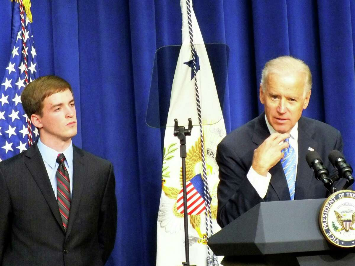 Vice President Joe Biden announces the three released guides on how schools and places of worship can prepare for emergencies such as the mass shootings at Sandy Hook. Biden was introduced by Steven Barton, 22, of Southbury, Conn., who was wounded in the July 20 mass shooting at a movie theater in Aurora, Colo., while on a cross-country bike ride with a buddy. Barton now works for Mayors Against Illegal Guns, the advocacy group formed in 2006 by New York City Mayor Michael Bloomberg and Boston Mayor Thomas Menino.