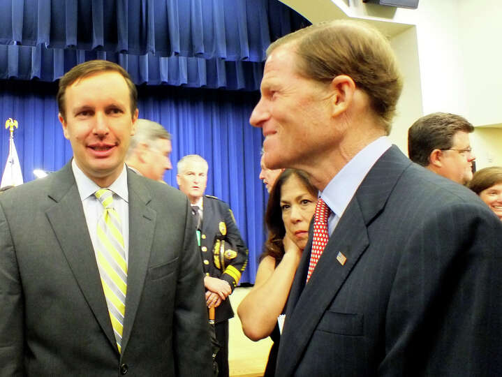 Conn. Senators Chris Murphy and Richard Blumenthal at the White House briefing where Vice President