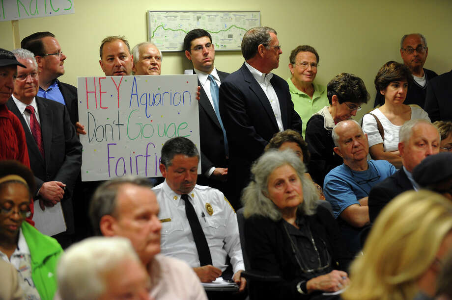 It was standing room only during a Public Hearing on Aquarion's proposed 22.7% rate increase, held at Independence Hall in Fairfield, Conn. on Tuesday June 18, 2013. Photo: Christian Abraham / Connecticut Post
