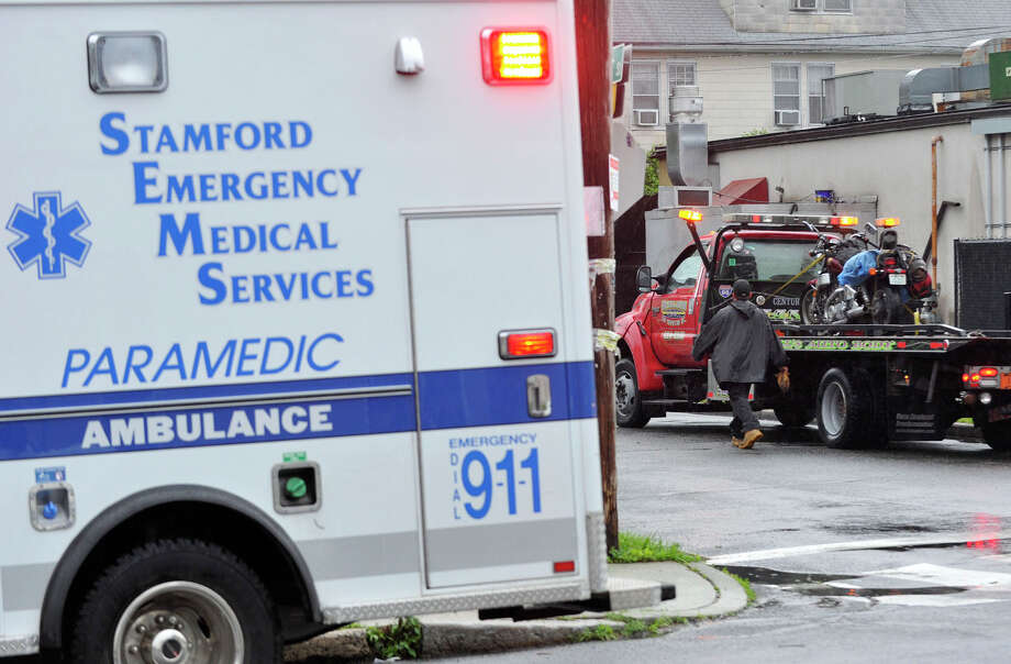 The scene of a motorcycle accident at the corner of Shippan Avenue and Hanover Street Tuesday, June 18, 2013. Photo: Jason Rearick / Stamford Advocate