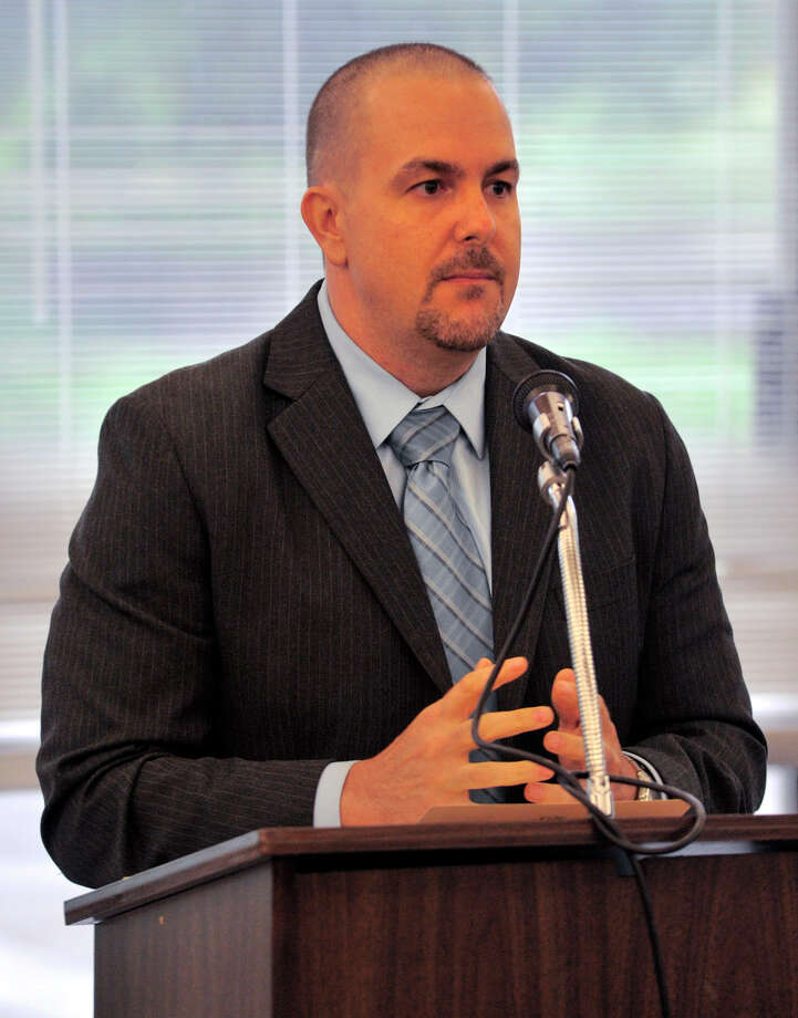 Kevin Durkin, assistant director of Alternative Programs, speaks during the Alternative Routes to Success Program, Home Instruction Department and Out-of-District Program recognition ceremony at the Government Center in Stamford on Tuesday, June 18, 2013. Photo: Jason Rearick / Stamford Advocate
