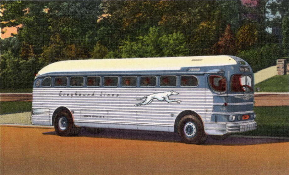 Back when Greyhound buses were a big part of American travel, passengers used to send postcards like this one (circa 1930 or 1940), saying things like, ''I am traveling on this bus.'' Photo: UniversalImagesGroup, Getty Images / Universal Images Group Editorial
