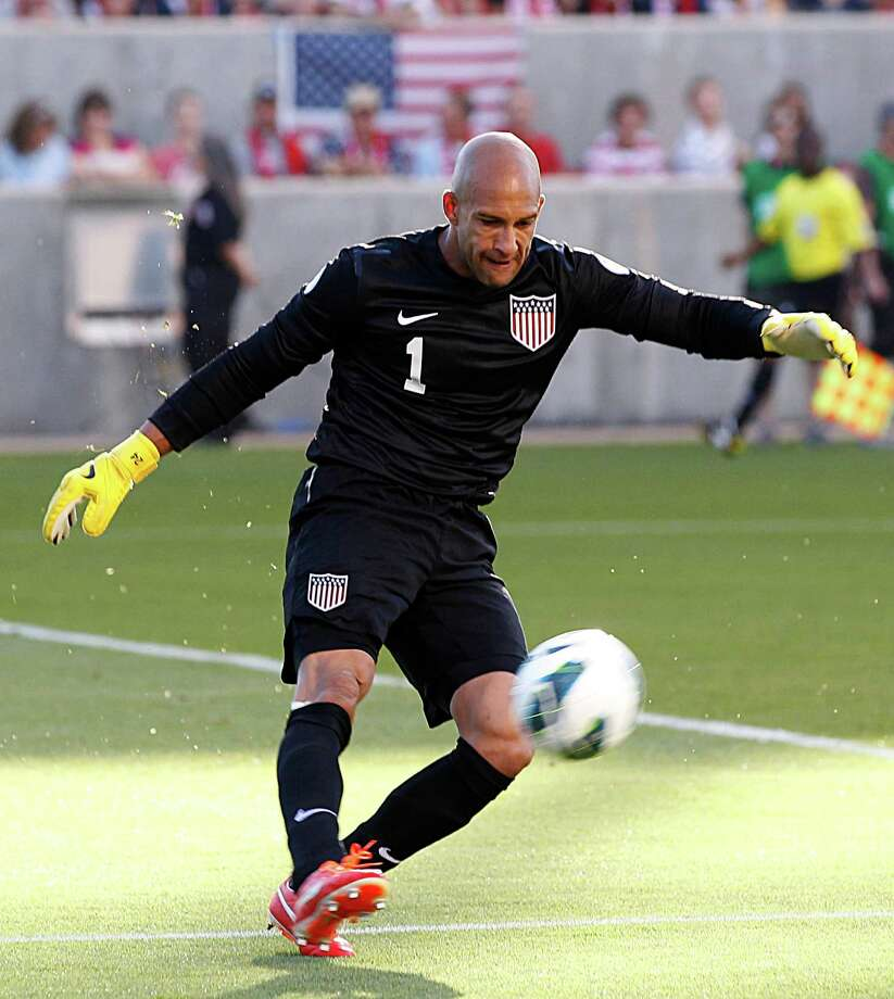 SANDY, UT - JUNE 18: Goalie Tim Howard #1 of the United States clears a shot by Honduras during the first half of a World Cup qualifying match on June 18, 2013 at Rio Tinto Stadium in Sandy, Utah. Photo: George Frey, Getty Images / 2013 Getty Images