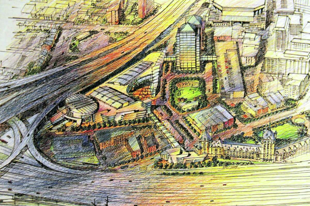 Rendering from Omni Development Company which shows the proposed site of planned aquarium and technology museum in Albany, N.Y., Tuesday June 18, 2013. (Omni Development Company)