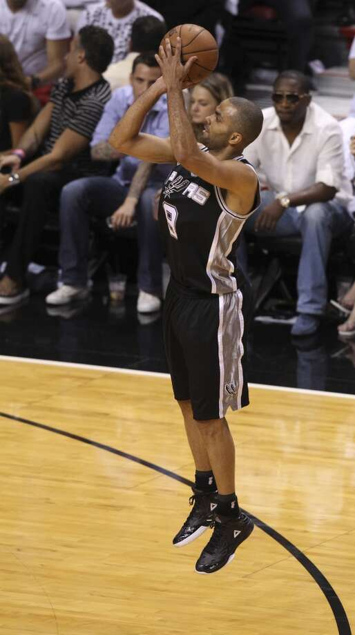 San Antonio Spurs' Tony Parker shoots during the first half of Game 6 of the NBA Finals at American Airlines Arena on Tuesday, June 18, 2013 in Miami. (Kin Man Hui/San Antonio Express-News)